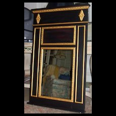 Trumeau Mirror in Black Base Coat Gold Leaf