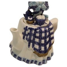 Teapot Hand Painted Blue and White