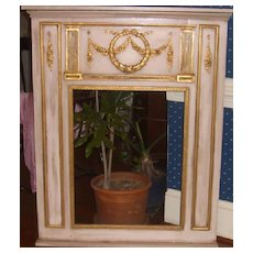 Mirror-Trumeau of French Design with 3 dimensional hand carved onlays and mouldings.