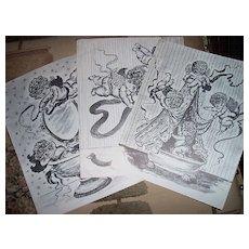 Pen and Ink Drawings of Bathroom Cherubs