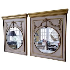 Twin Trumeau Mirrors Gold Gilding on Mouldings