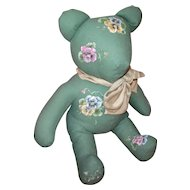 Bear with Handpainted Pansies