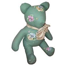 Bear with Handpainted Pansies