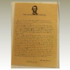 The Gettysburg Address on Art Parchment