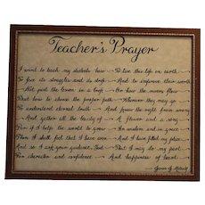 Teacher's Prayer Framed