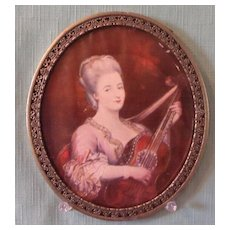 Miniature Portrait of Lady with Guitar