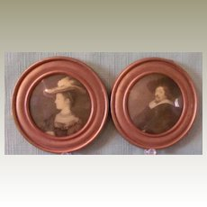 Portraits of Man and Woman in Miniature Round Frames