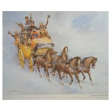 """Wolfgang Tritt Vintage Watercolor """"A Happy New Year Ride"""""""