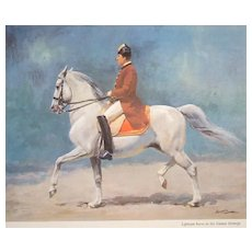 "A Vintage Watercolor Wolfgang Tritt ""Lipizzian Horse in the Vienna Manege"""