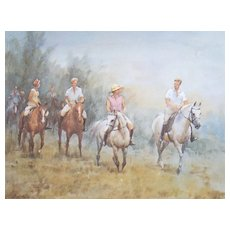 "Wolfgang Tritt Vintage Watercolor ""A Ride in Fall"""