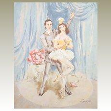 Ballerina Dancer Lithographs - Bouquet Ballet  Collection of Prints by  Lenore circa 1950