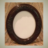 Mahogany Oval Frame-Handcarved Flowers
