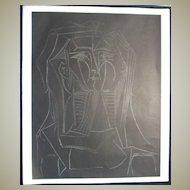 Pablo Picasso Lithograph - Tete sur fond noir.  Lady in Black