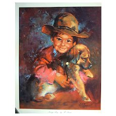 "Vintage Children's Portrait ""Navajo Boy"" by Runci"
