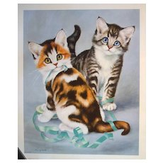 Cat Lithographs by Artist Girard- Group of 4