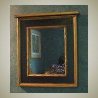 Mirror-Trumeau Accent-Black with Gold Leaf Trim