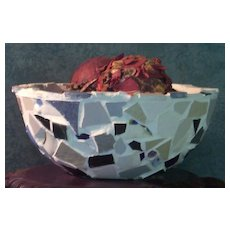 Mosaic Porcelain Tile-Glass Bowl-Hand Made Container