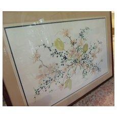 Original Watercolor-W. Winterle Olson-Embossed Vase of Flowers