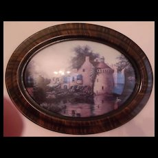 Oval Framed Bubble Glass Landscape Lithograph