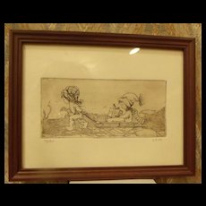 Pen and Ink Art: Children with Sled Etching