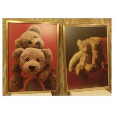 Bear Lithograph Prints (2) Framed in Gold Frames