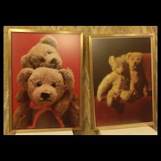 Bear Lithograph Prints (2) Framed in Gold Frames