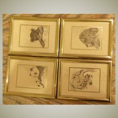 Animal Pen and Ink Drawings Set of 4