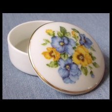 Porcelain Ring Box with Handpainted Pansys