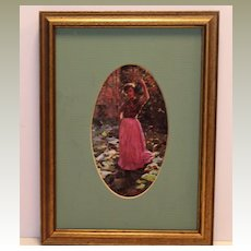 Framed Art of Girl in Oval