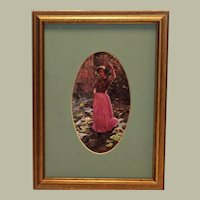 Framed Art of Girl in Oval FREE S&H