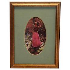 Framed Art of Girl in Oval