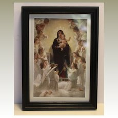 Madonna and Child in mini black frame