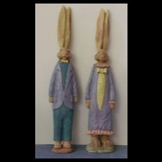 Ceramic Rabbits-Lop Eared Male and Female Bunnies