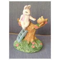 Rabbit Feeding Birds Porcelain Figuerine