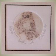 """Nancy Nemec Original Signed Intaglio Relief Art-""""Little Hoot"""""""