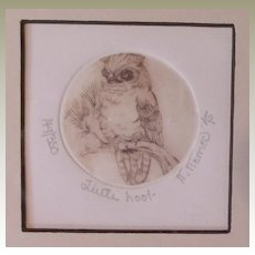 "Nancy Nemec Original Signed Intaglio Relief Art-""Little Hoot"""
