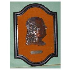 Ben Franklin 3D Brass Plaque