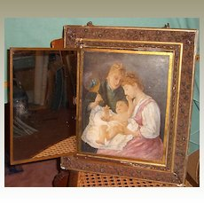 Triptych (Tri-fold) Mirror-Madonna-Mother With Child-Oil Canvas