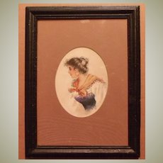 Watercolor Lady in Scarf Signed