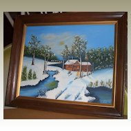 Original Oil Painting Snow Signed by Emma Minter
