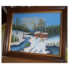 Original Oil Painting Snow Signed by Emma Minter FREE S&H