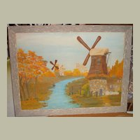 Oil Painting of Windmills FREE S&H