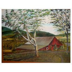 Oil Painting Red Barn Vintage Art