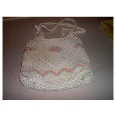 Macrame Pastel Cord Sack Pocketbook in Pastel Colors