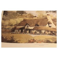 Watercolor-Periwinkle Cottage Lithograph Watercolor