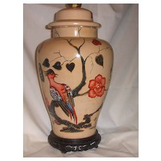 Hand-painted Chinese Floral Ceramic Lamp Base