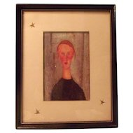 Amedeo Modigliani Artist-Girl with Blue Eyes Lithograph-Matted and Framed