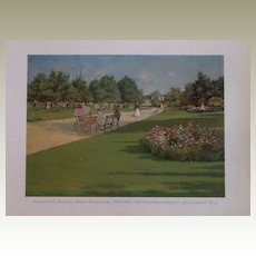 Prospect Park Lithograph by William Merritt Chase