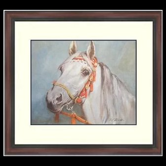 Watercolor Lithograph by Wolfgang Tritt Watercolor Print Framed Lithograph-Tritt-A Fine Arabian Horse