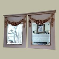 Twin Trumeau Mirrors  hand crafted composition